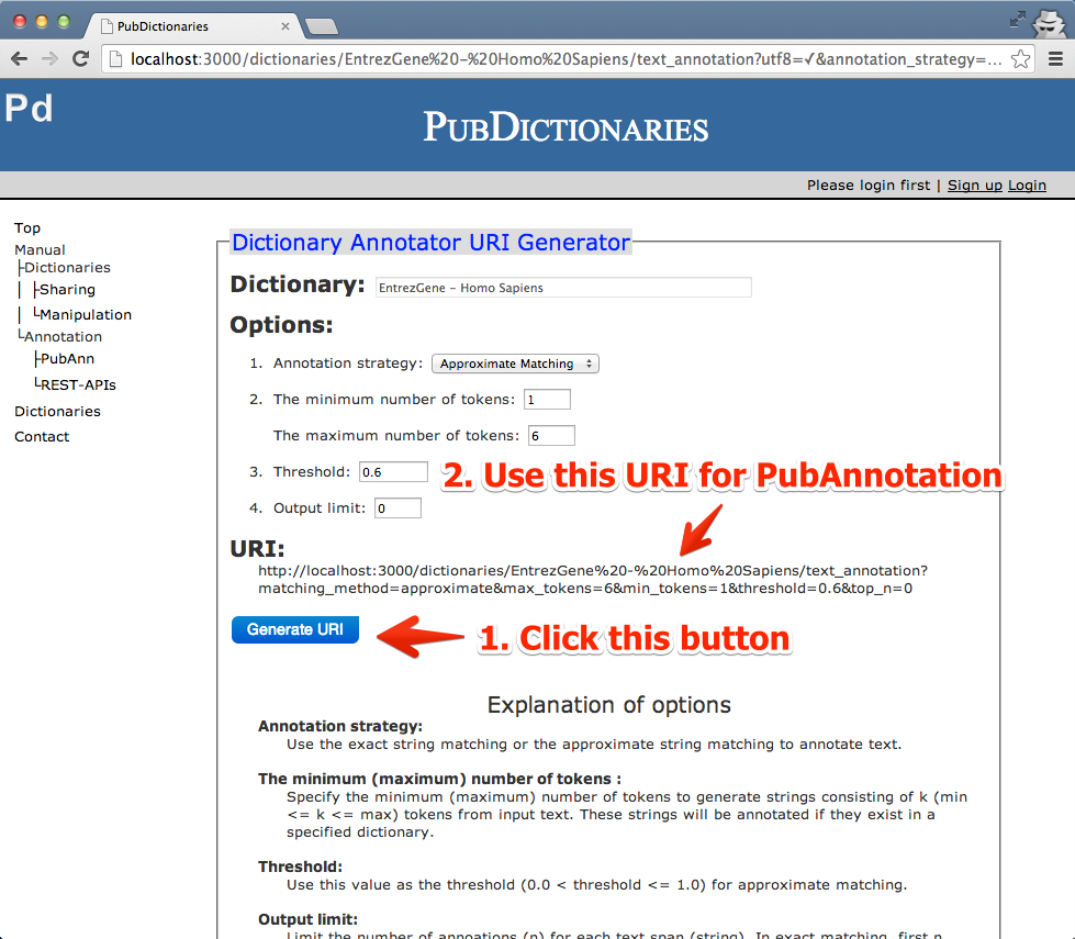 04 - Click the Generate URI button and use the URI for annotation.
