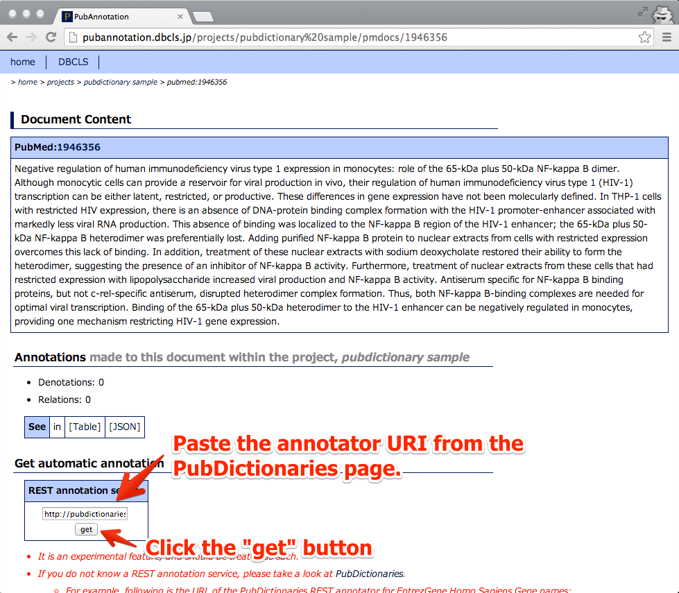 07 - Paste the annotator URI of the PubDictionaries and click the Get button.